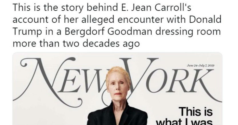 New York Magazine tweet and cover with E. Jean Carroll for her article accusing Donald Trump of rape