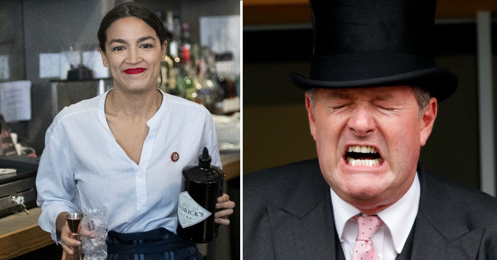 Alexandria Ocasio-Cortez bartending and Piers Morgan in a top hat screaming
