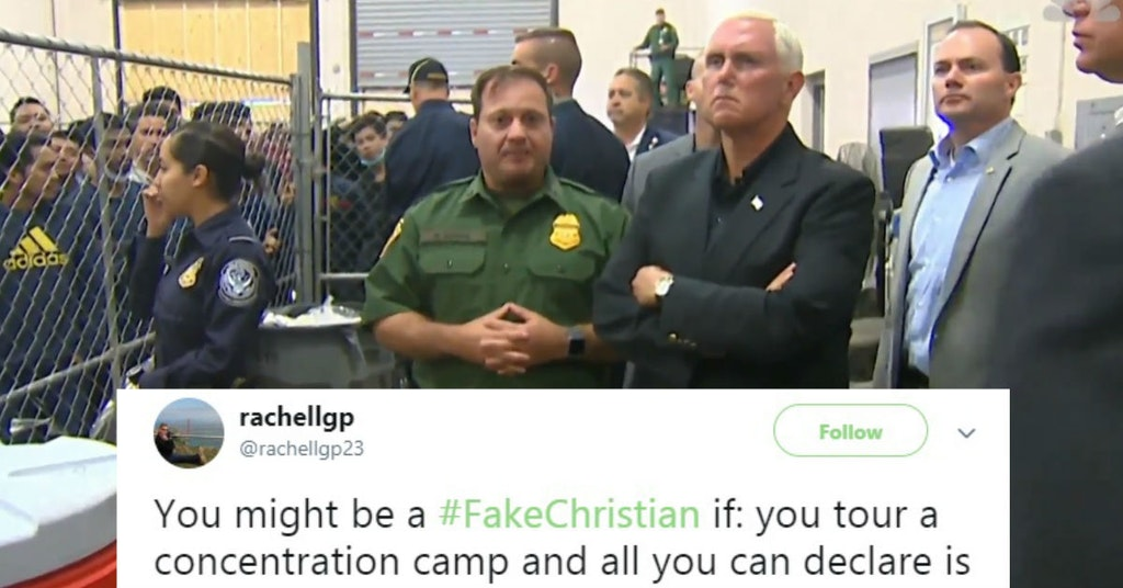 Mike Pence visiting a concentration camp with #FakeChristian tweet