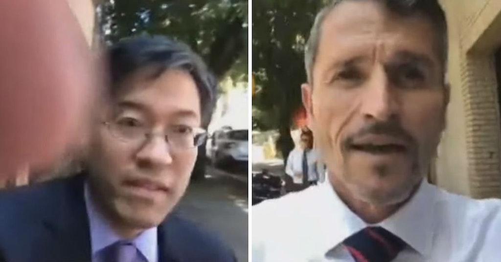 Senator Richard Pan and anti-vaxxer Kenneth Austin Bennett