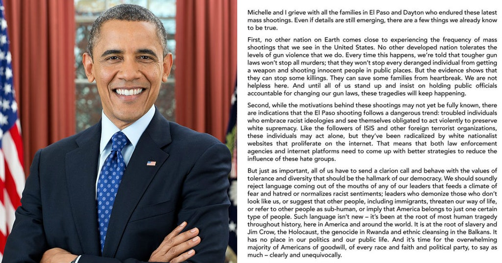 Barack Obama and his statement condemning racism in response to mass shootings