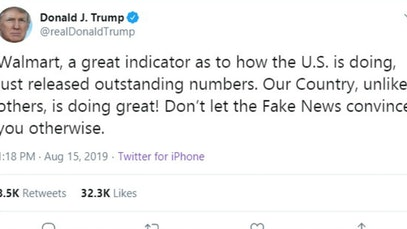 Donald Trump tweet claiming good Walmart numbers mean a strong economy