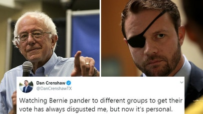 Bernie Sanders and Den Crenshaw with tweet accusing Sanders of pandering to veterans