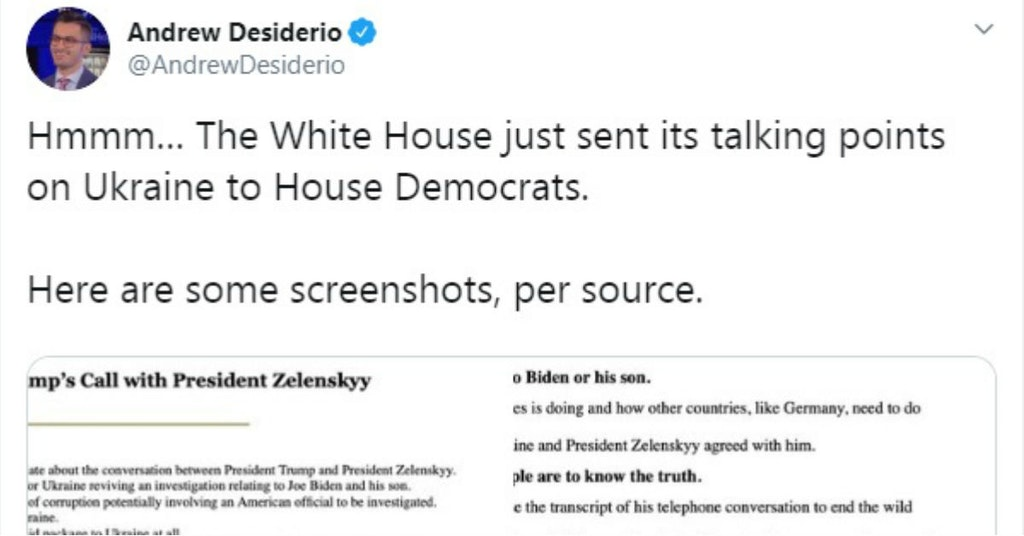 Tweet containing White House talking points on Ukraine scandal accidentally sent to Democrats