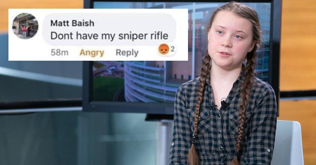 greta thunberg, greta thunberg sniper rifle, greta thunberg sniper rifle teacher