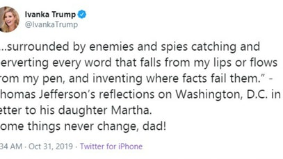 Ivanka Trump tweet comparing her dad to Thomas Jefferson