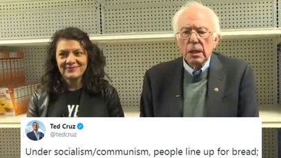 Bernie Sanders and Rashida Tlaib at a food pantry and Ted Cruz tweet