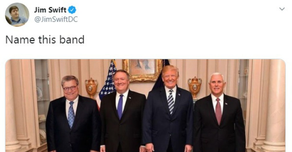 Donald Trump, Mike Pence, Bill Barr, and Mike Pompep name that band