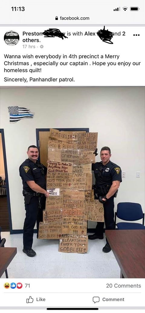 """Police Officers Make Cardboard Sign """"Homeless Quilt"""" As A Gag Christmas Gift For Their Supervisor"""