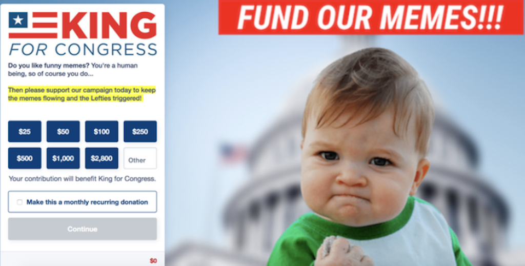 Success Kid on fundraising page
