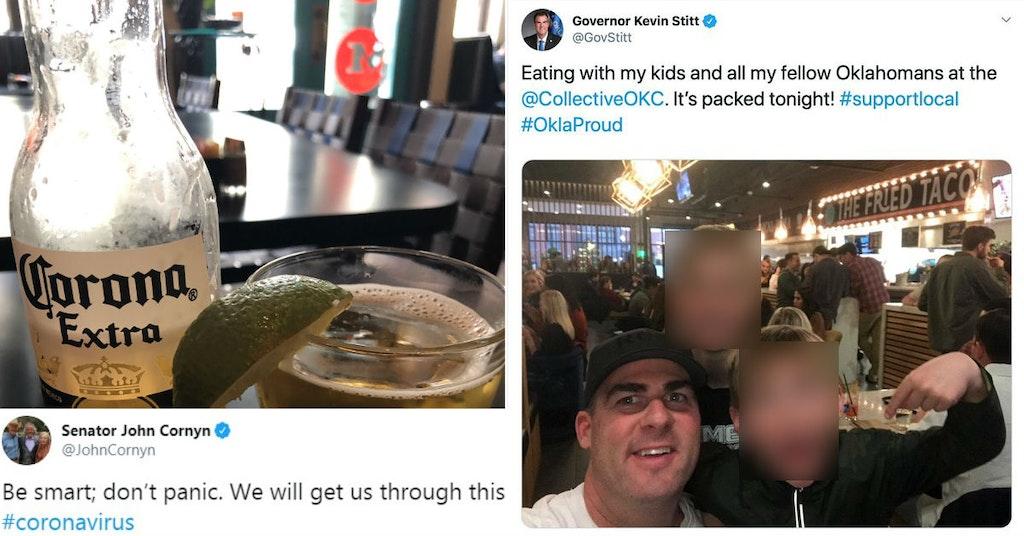 Tweets from Senator John Cornyn and Governor Kevin Stitt