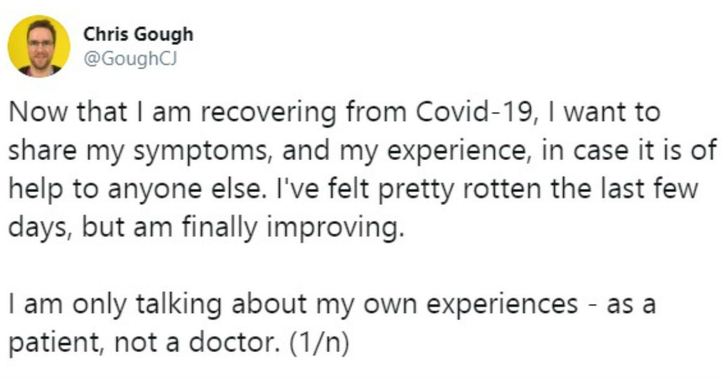 Tweet from a man who recovered from COVID-19