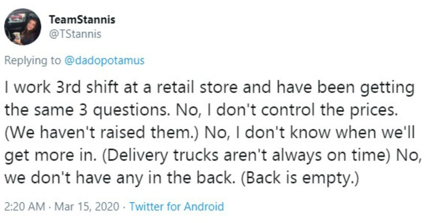 Tweet on the most common questions retail workers are getting during the coronavirus pandemic