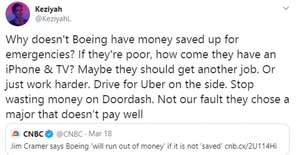 "Tweet by Keziyah giving useless ""advice"" to Boeing"
