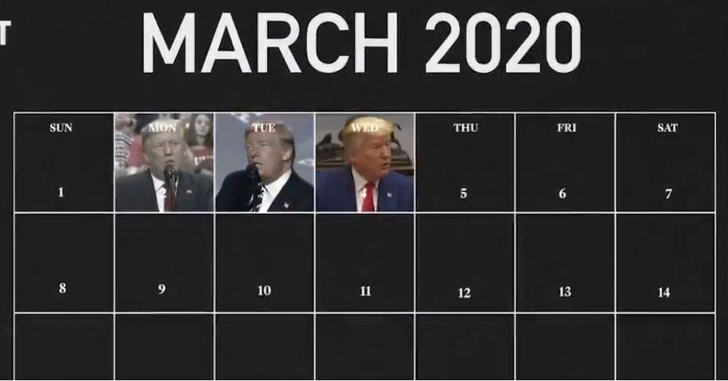 Video showing with a calendar Trump's changing statements on the coronavirus