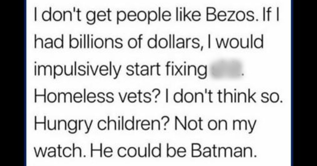 Tweet asking why billionaires don't fix the world's problems