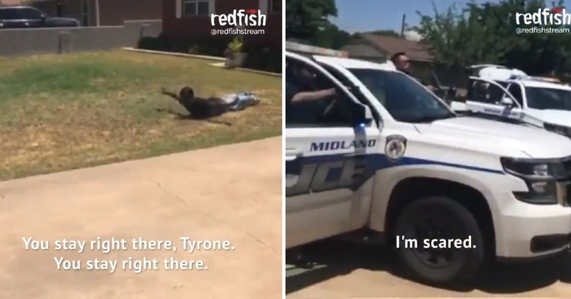 Texas cops pointing guns at black man on the ground