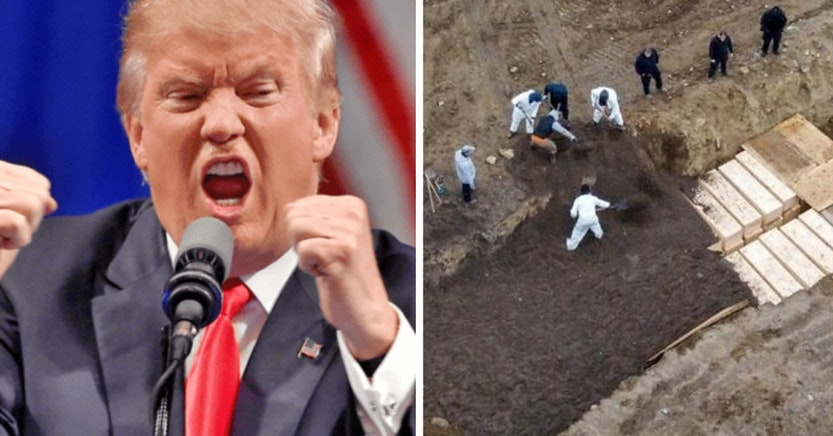 Donald Trump and drone footage of mass graves for COVID-19 victims