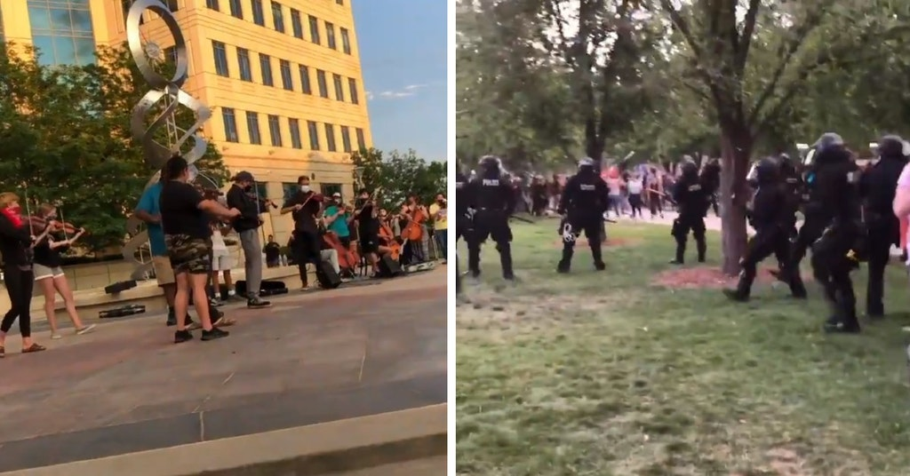 Violin vigil for Elijah McClain and riot cops attacking