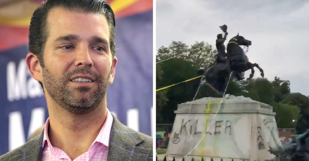 Donald Trump Jr. and D.C. Andrew Jackson statue