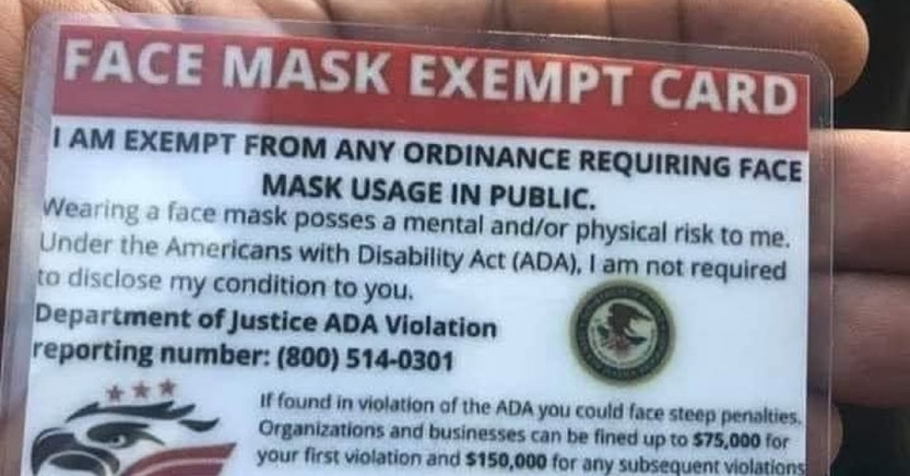 fake face mask exemption card
