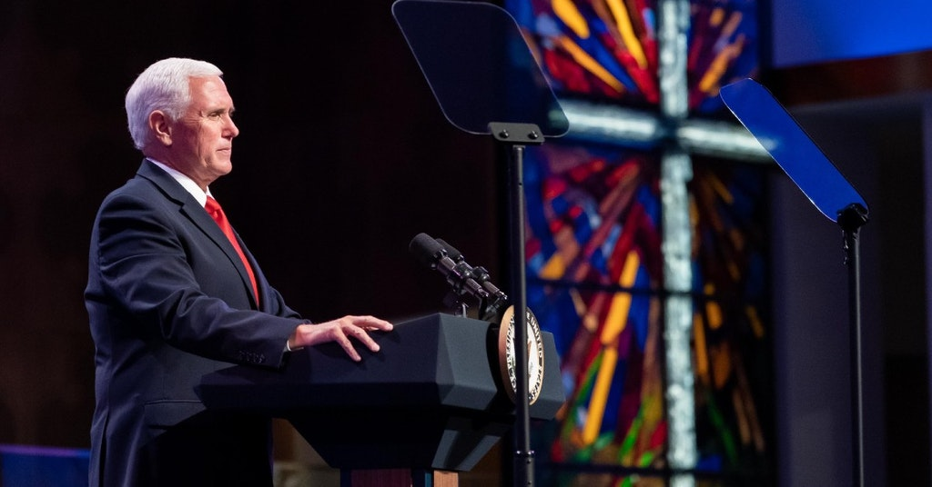 Mike Pence at a megachurch pulpit