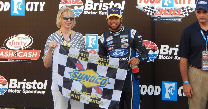 Bubba Wallace being introduced at Bristol Motor Speedway for the 2015 Food City 300