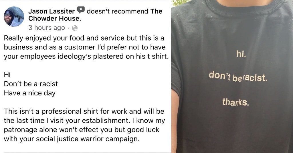 don't be racist shirt, don't be racist shirt restaurant review