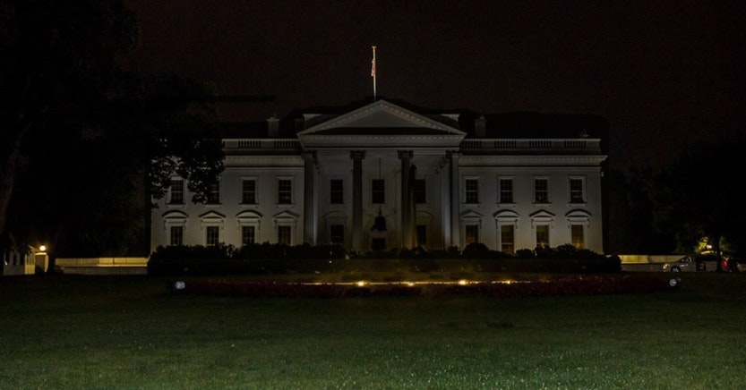 The White House with the lights off