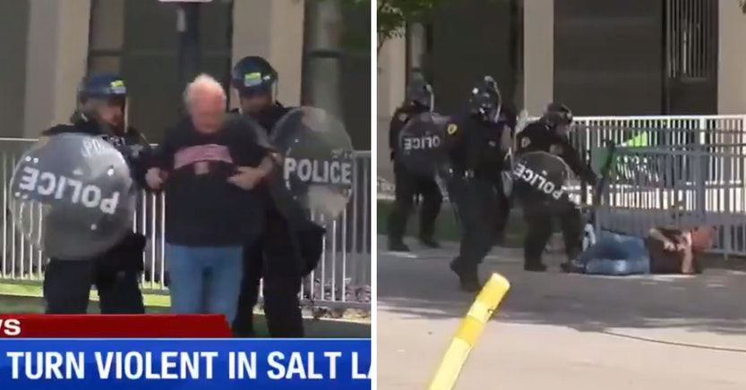 Salt Lake City police shoving an old man to the ground