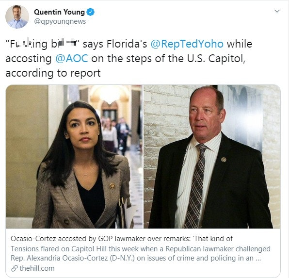 Article on Twitter about Ted Yoho cussing out AOC