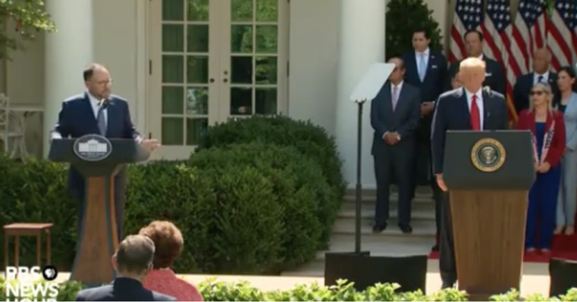 Goya CEO and Donald Trump in the Rose Garden