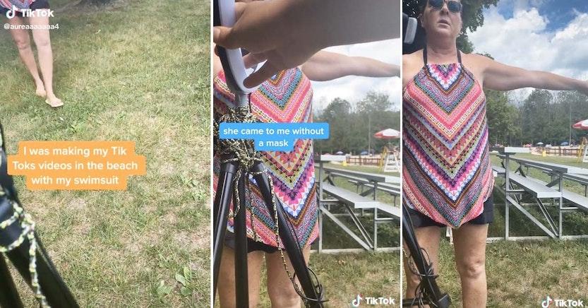 Karen Harasses Tiktok Teen To Cover Up Her Bikini