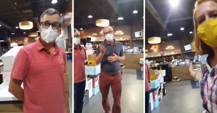 Molly's Spirits managers trying to get an anti-mask woman to leave the store