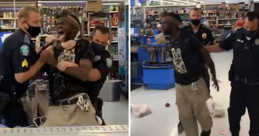 Cops violently arresting a Black man in Walmart