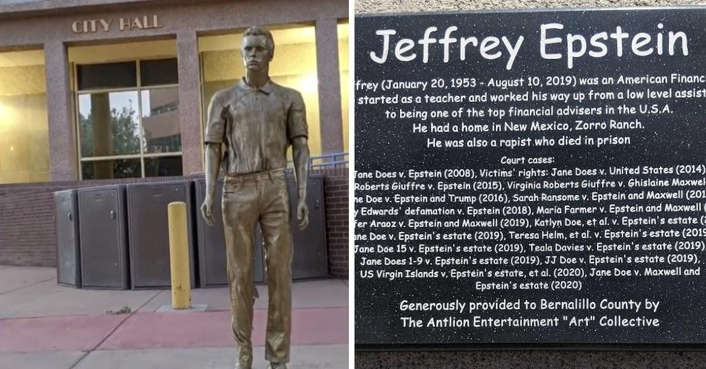 Jeffrey Epstein statue and plaque