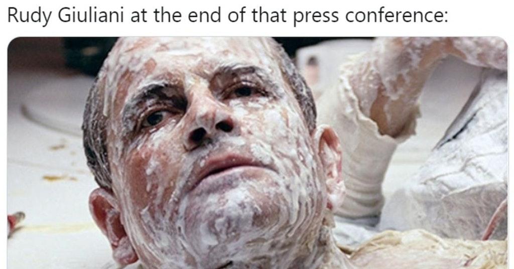 Tweet mocking Rudy Giuliani for his hair dye problems