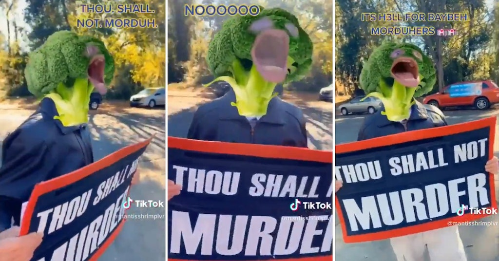 Abortion clinic protester with a broccoli head filter on