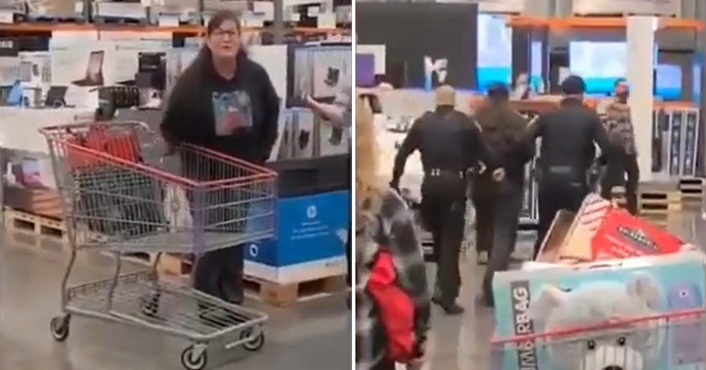 Unmasked woman getting taken out of a Costco by police