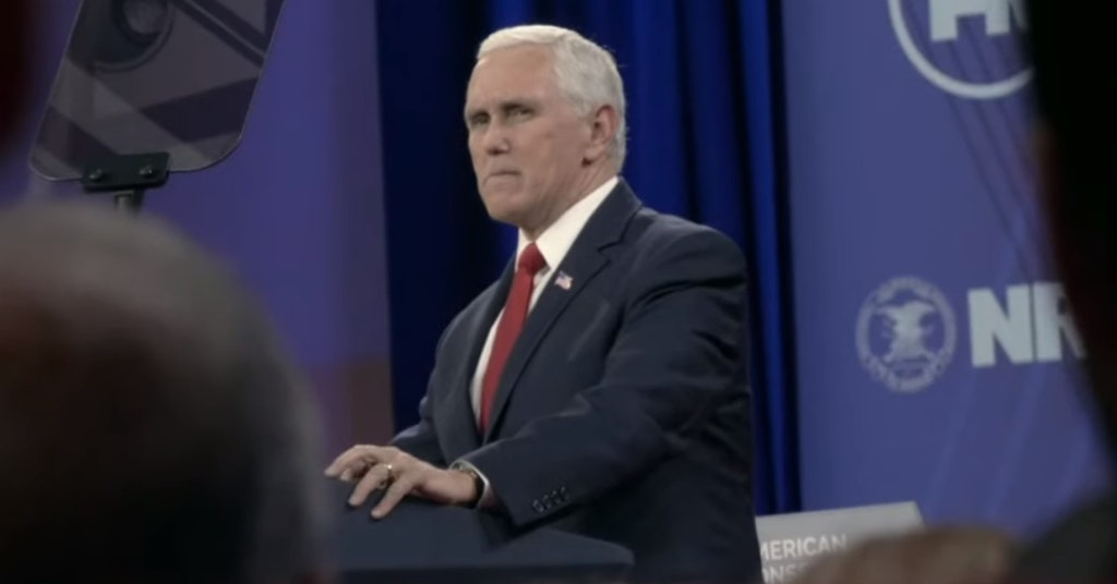 Mike Pence in Borat 2 scene being pranked by Sacha Baron Cohen