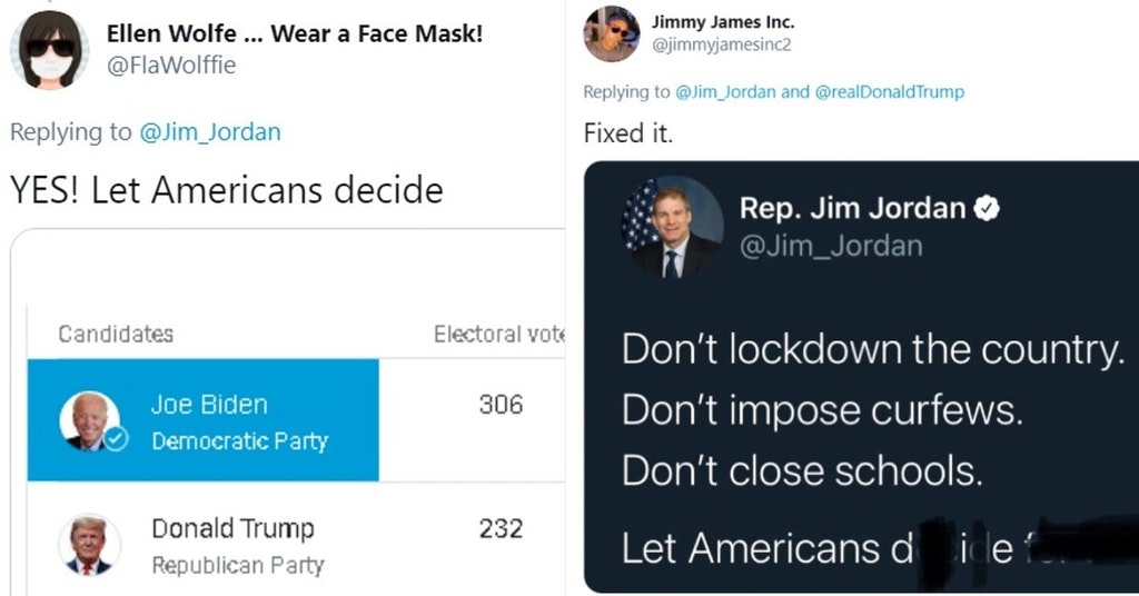 """Tweets mocking Jim Jordan for saying """"Let Americans decide"""" to gather in large groups during the pandemic"""