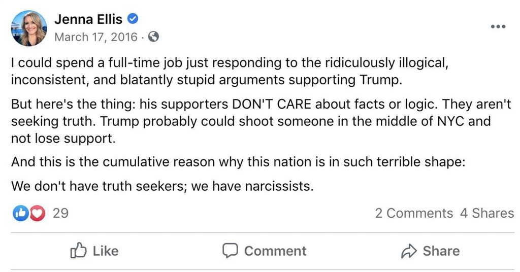 Jenna Ellis Facebook post trashing Trump supporters