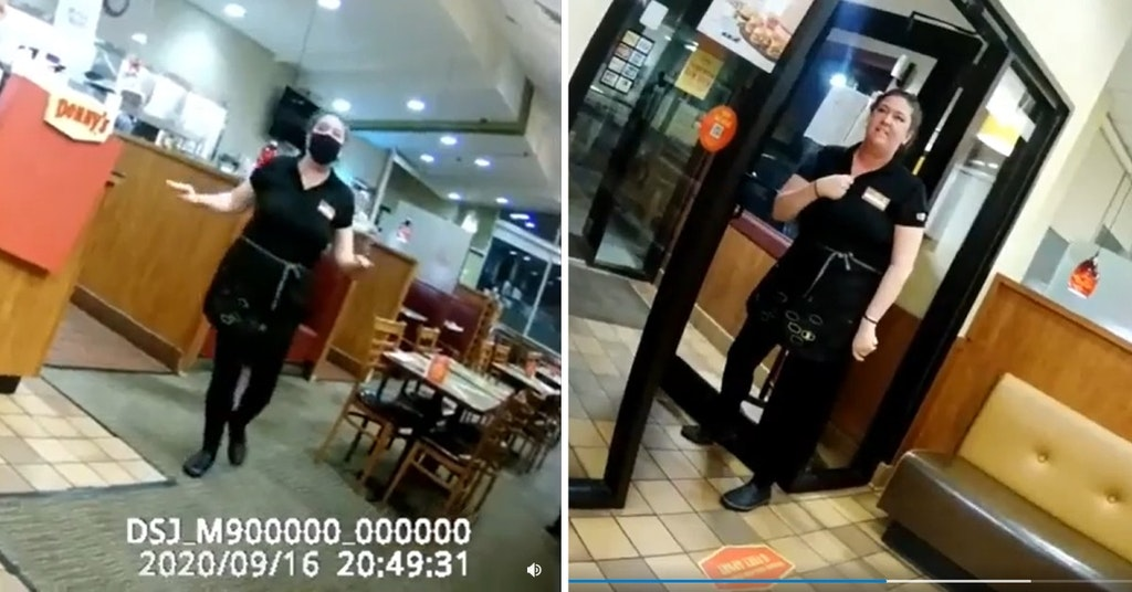 Denny's waitress being filmed by anti-maskers as she quits her job