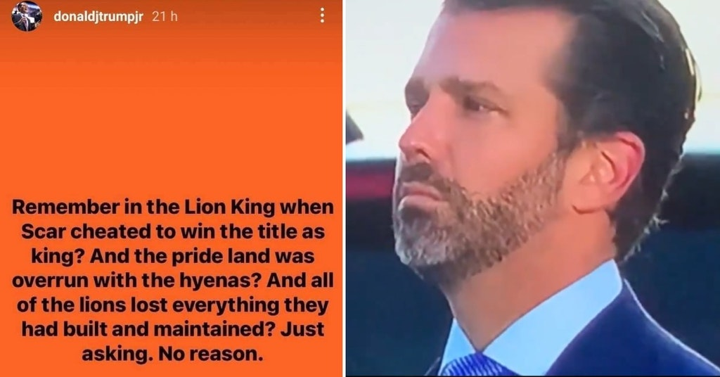 Donald Trump Jr. crying and his Instagram post comparing Joe Biden to Scar from The Lion King
