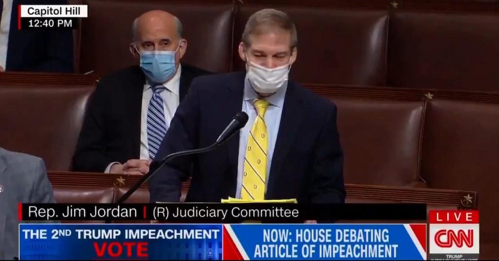 Rep. Jim Jordan arguing against the second impeachment of Donald Trump on the House florr
