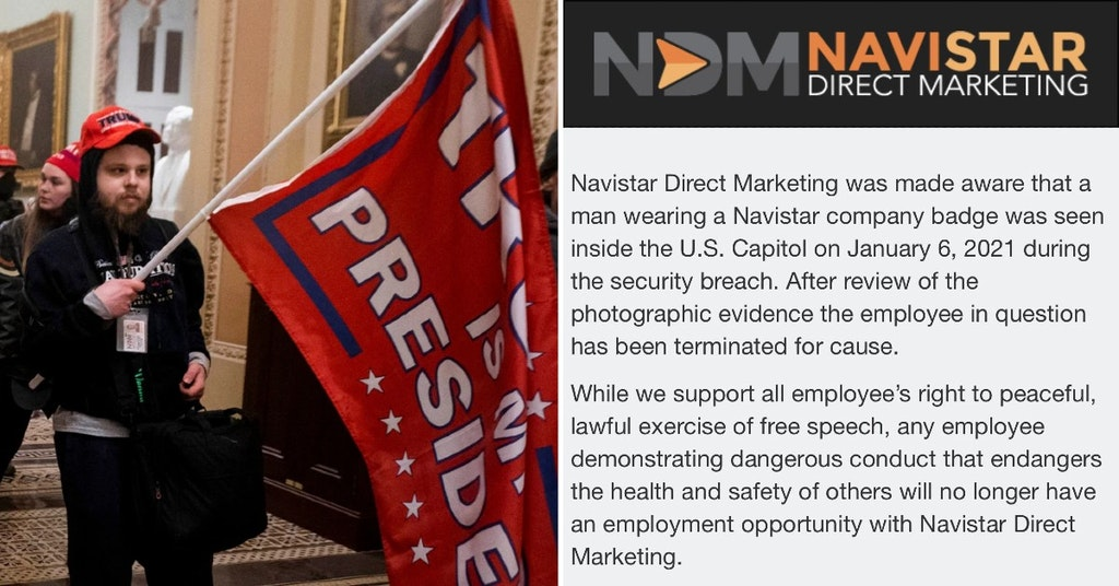 Trump supporter in the US Capitol during the insurrection and Navistar Direct Marketing statement on his firing
