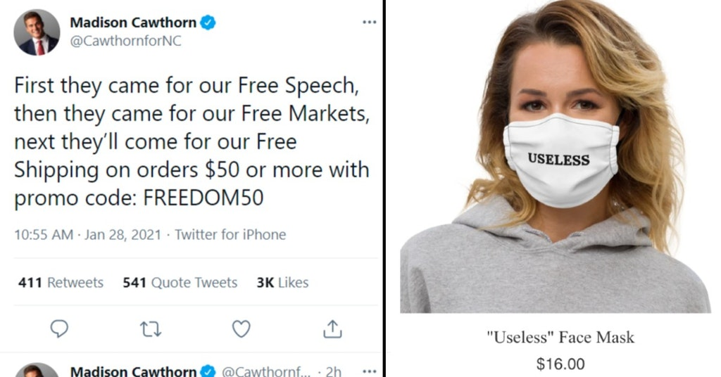 "Rep. Madison Cawthorn Holocaust promo code tweet and model wearing ""useless"" mask"