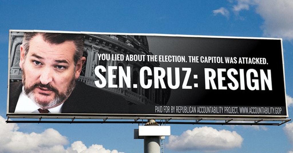 ted cruz resign billboard