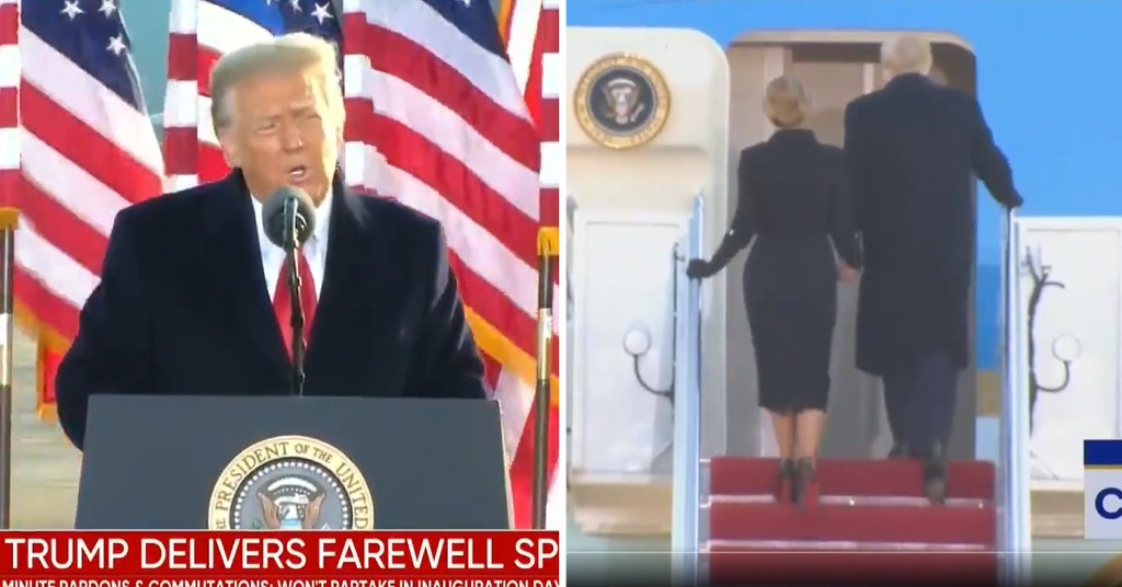 Donald Trump giving his farewell speech and him and Melania climbing the stairs to the departing plane