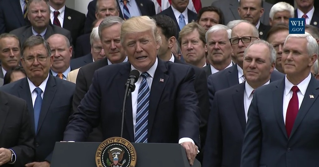 President Trump speaking with a number of key Republicans at the Rose Garden